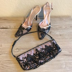 Vintage Valentino silk and lace evening heel